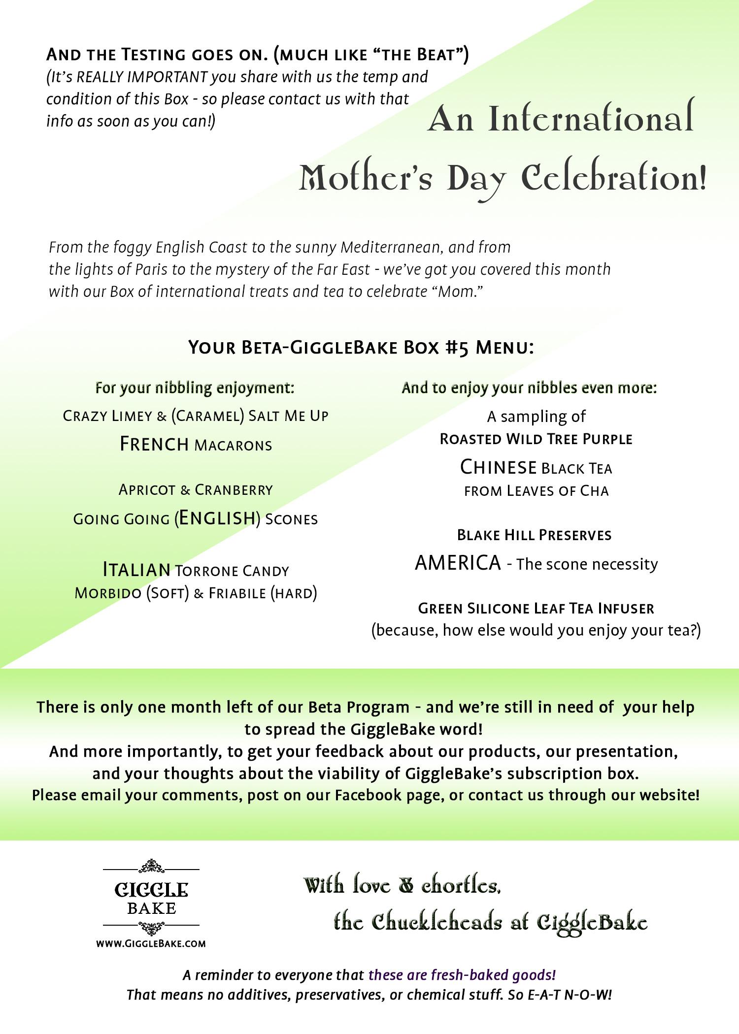 International Mother's Day Box Menu